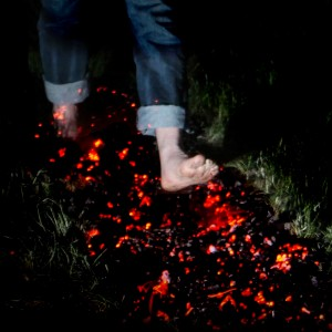 Feet walking on fire