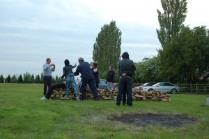 Firewalk Instructors training to build fires